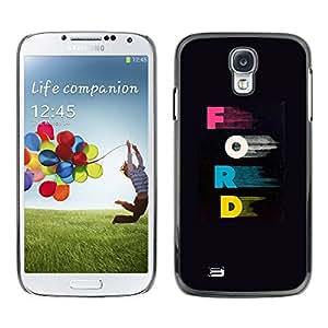 TopCaseStore / la caja del caucho duro de la cubierta de protección de la piel - Letters Pink Blue Car Company Black - Samsung Galaxy S4 I9500
