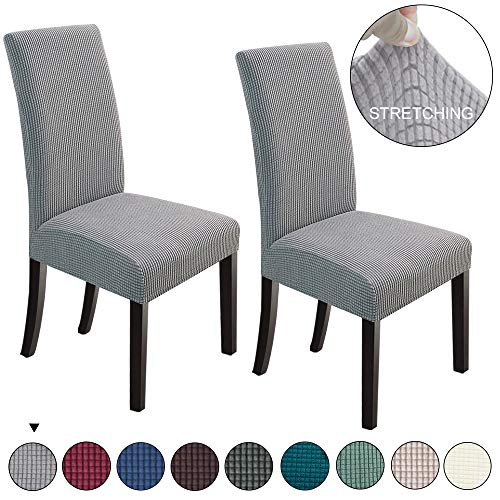 NORTHERN BROTHERS Dining Chair Covers Stretch Chair Covers Parsons Chair Slipcover Chair Covers for Dining Room (Light Grey, 2)