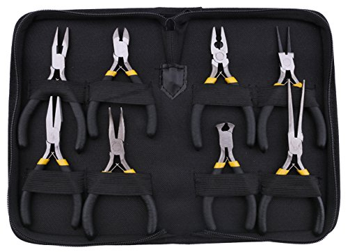 Kattool 8PCs Mini Pliers Set, Long Nose with Teeth, Flat Jaw, Round Curve Needle Diagonal Nose Wire End Cutting Cutter Linesman Plier with Black Grips & Protective Pouch ()