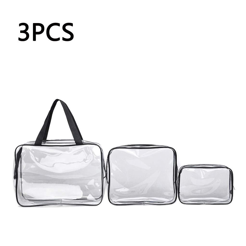 3Pcs Transparent Travel Bag, Iuhan Portable Folding Travel Toiletry Wash Bag Ladies Make Up Cosmetic Bags Organiser (Clear)