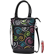Kato Insulated Wine Tote Bag - Travel Padded 2 Bottle Wine/ Champagne Cooler Carrier with Handle and Shoulder Strap + Free Corkscrew, Great Wine Lover Gift, SPIRAL