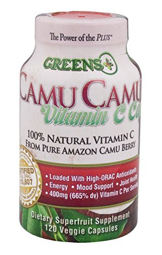 Greens+ Camu Camu Dietary SuperFruit Supplement | 100% Natural Vitamin C | Pure Amazon Camu Berry with Vitamins & Minerals | High ORAC Antioxidants | 400mg Vitamin C | 120 Veggie Capsules
