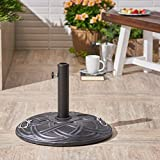 Great Deal Furniture Noah | Outdoor Concrete Circular Umbrella Base | in 55LBS | in Hammered Iron