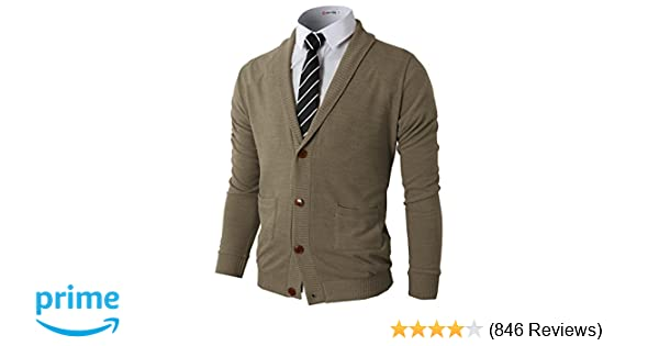 7c1c5a62f952 H2H Mens Slim Fit Cardigan Sweater Shawl Collar Soft Fabric with ...