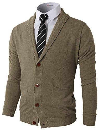 H2H Men's Slim Fit Series Shawl Collar Cardigan Sweater Beige US M/Asia L -