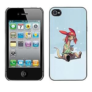 Qstar Arte & diseño plástico duro Fundas Cover Cubre Hard Case Cover para Apple iPhone 4 / iPhone 4S / 4S ( Cartoon Character Anime Technology Big Ears)