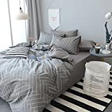 queen duvet cover grey - Soft Geometric Queen Duvet Cover Set 3 Piece 100% Natural Cotton Striped Bedding Set Full Grey Comforter Cover for Boys Men Lightweight Breathable and Comfortable by HighBuy (No Comforter)