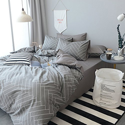 HIGHBUY 100% Natural Washed Cotton Geometric Plaid Duvet Cover Set (Queen/King) 3 Piece Bedding Sets 1 Duvet Cover 2 Pillowcases Luxury Quality Soft Comfort Breathable Bedding Set Checkered Grid Full