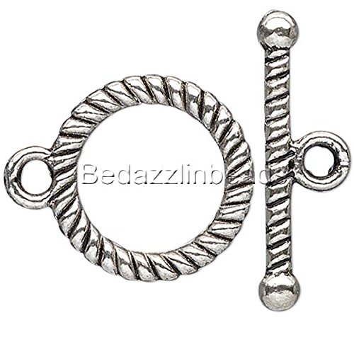 (10 Antique Silver Toggle Clasps with Spiral Rope Design Plated Pewter Metal)