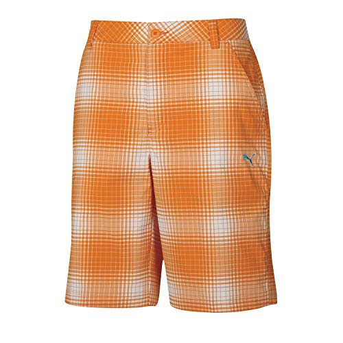 - Puma Golf Boy's Ombre Plaid Bermuda, White/Vibrant Orange, Medium