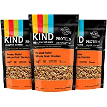 KIND Healthy Grains Clusters, Peanut Butter Whole Grain Granola, 10g Protein, Gluten Free, Non GMO, 11 Ounce Bags, 3 Count