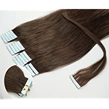 16'' 18''20''22'' 24''tape - In Real Human Hair Extensions Straight 17 Colors 20pcs Beauty Hair Style (20inch 50g/20pcs, #02 Dark Brown)