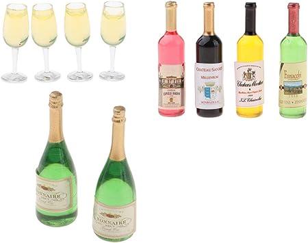 4 Stücke Bunt Miniatur Wein Flaschen Bierflaschen für 1:12 puppenhaus Küche