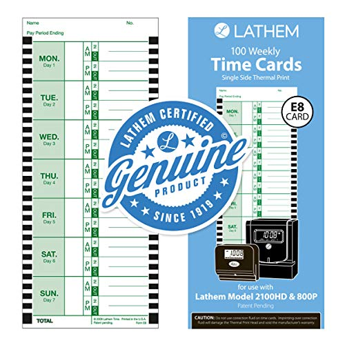 Lathem Time Cards, Thermal, Weekly, 100 per Pack, White (LTHE8100)