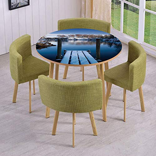 Round Table/Wall/Floor Decal Strikers,Removable,Photo of Wooden Deck on The Shore of a Small Lake in Winter Sweden Frozen Northern,for Living Room,Kitchens,Office Decoration