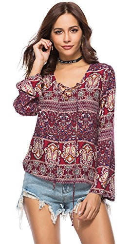 (Arctic Cubic Long Sleeve Lace Up Deep V Neck Baroque Ethnic Tribal African Aztec Paisley Blouse Shirt T-Shirt Top Burgundy)