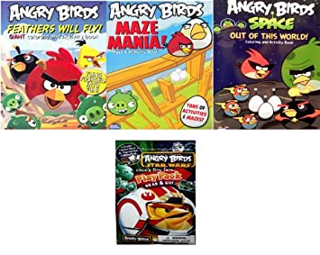 Angry Birds Coloring Activity Book Set Of 3feathers Will Fly Maze Mania