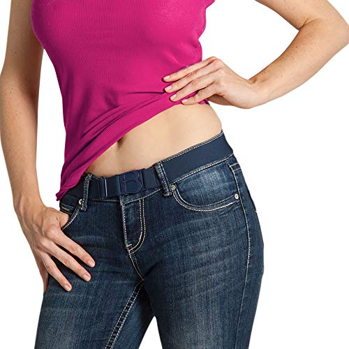 (Beltaway Flat Buckle Elastic Women's Belt, Adjustable & Invisible Under Clothes DENIM One Size (0-14) Women's Belt DENIM One Size (0-14))