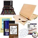 US Art Supply 142 Piece Mega Art Creativity Set in Wood Box Set, Wood Desk ...