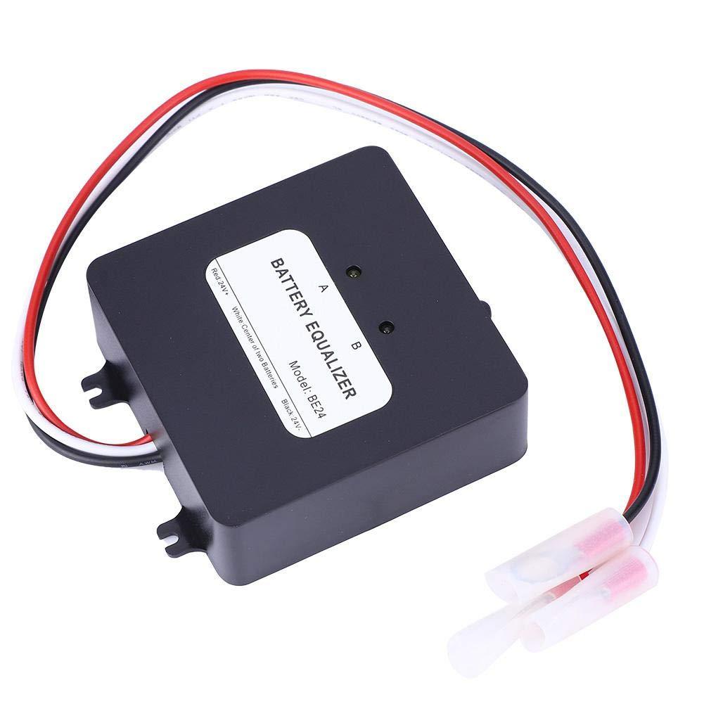 /Équilibreur de batterie Chargeur d/équilibrage de tension de batterie /Équilibreur de syst/ème solaire Max 2 x 12 V avec protection de connexion invers/ée Noir
