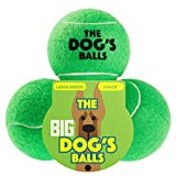 The Dog's Balls The Big Tennis Balls, Premium Dog Toy Ball for Dog Fetch and Play, Too Big for Chuckit Launchers, The King Kong of Dog Balls, Large, Green, 3 Piece