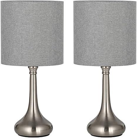 Moderna Lampada Da Tavolo Piccole Lampade Da Comodino Set Da 2 Per Camera Da Letto Ufficio Soggiorno Argento Amazon It Illuminazione