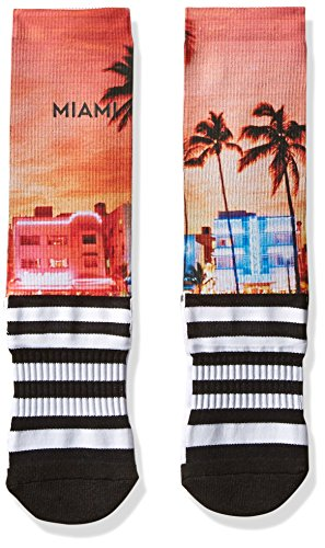 Legends novelty iconic scenic and destination printed socks, Miami Passion, One - Miami City Place