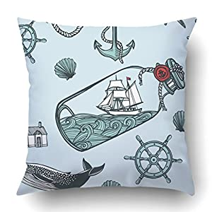 Emvency Decorative Throw Pillow Cover Case for Bedroom Couch Sofa Home Decor vintage nautical Anchor fish steering wheel sea shell lighthouse whale Square 18x18 Inches Nautical Pattern
