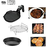 Air Fryer Accessories Set, Grill pan, Grill Rack with Skewers + FREE Versatile Mini-Pan. For 3.5 QT or larger Air Fryers from Cozyna, GoWiSe, Della, Emerald, Gourmia & more.
