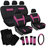 OxGord 21pc Black and Pink Flat Cloth Seat Cover and Carpet Floor Mat Set, Airbag Compatible, Split Bench, Steering Wheel Cover Included