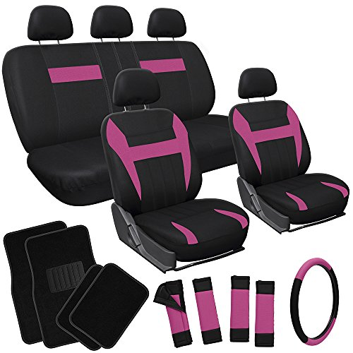 OxGord 21pc Black & Pink Flat Cloth Seat Cover and Carpet Floor Mat Set for the Honda Accord Coupe, Airbag Compatible, Split Bench, Steering Wheel Cover Included Honda Accord Air Bag