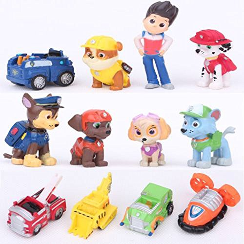 Price comparison product image 12 pcs PAW PATROL Figures Cake Toppers Ryder + 6 Pups + 5 Vehicles
