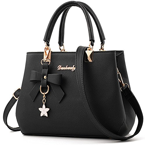Womens FiveloveTwo handle Satchel HoboTote Bags and Purses Shoulder Ladies Handbags Top Flower Black rrd4q
