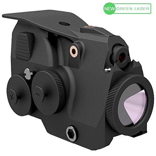 LASPUR Tactical Green Laser Sight and High Lumen Flashlight Light Integrated Combo with Rail Mount for Pistol Rifle Handgun Gun, Aluminum Body and 2 Batteries Long Running Time (Outdoor Pulsing Beam Laser)