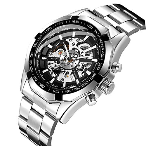 Dial Mechanical Silver (GuTe Classic Skeleton Mechanical Wristwatch Automatic Steel Watch Silver Black X Dial)