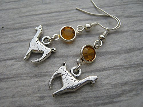 Birth Costume Halloween (Llama Birthstone Earrings, Personalized Alpaca Earrings, Animal Earrings, Farm Country Earrings)