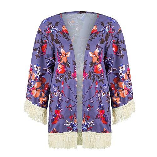 NUWFOR Womens Three Quarter Sleeve Floral Printed Shawl Tassel Kimono Cover Up Cardigan(Purple,L) by NUWFOR (Image #3)