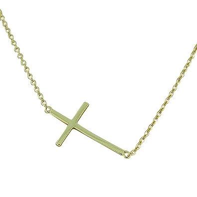 b8a9e1667f74b 925 de plata de ley Horizontal amarillo-tono collar con colgante de cruz   My Daily Styles  Amazon.es  Joyería