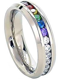 6mm Titanium Unisex Lesbian Gay Pride Wedding Band Rainbow CZ Ring Size 5-13 SPJ