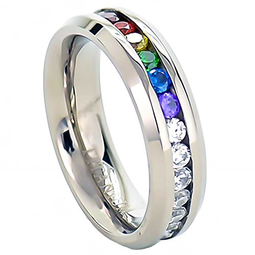 6mm Titanium Unisex Lesbian Gay Pride Wedding Band Rainbow CZ Ring Size 5-13 SPJ (Jewelry Gay)