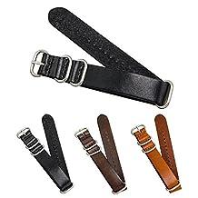 CIVO Genuine Grain Leather NATO Zulu Military Swiss G10 Watch Band Strap 18mm 20mm 22mm Stainless Steel Buckle (Black, 18mm)