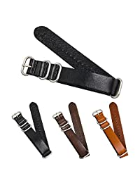CIVO Genuine Grain Leather NATO Zulu Military Swiss G10 Watch Band Strap 18mm 20mm 22mm Stainless Steel Buckle (Black, 18mm)