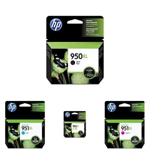HP 950-951XL Black/Cyan/Magenta/Yellow High Yield Ink Cartridge Bundle