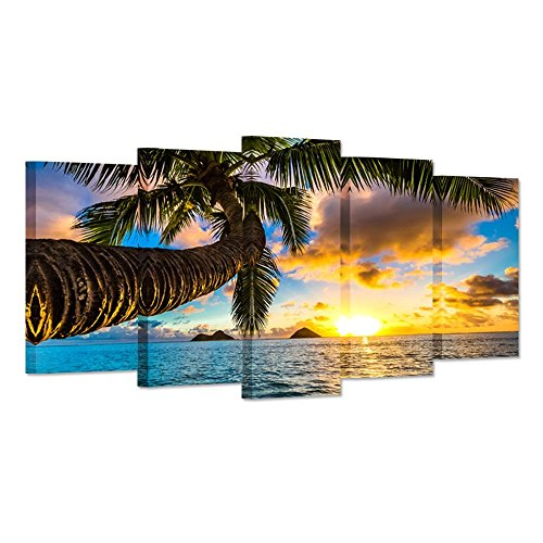 - iHAPPYWALL Hello Artwork 5 Panel Canvas Prints Wall Art Hawaii Tropical Beach with Palm Tree Sunset Landscape Picture Modern Painting on Canvas Stretched and Framed for Living Room Ready to Hang