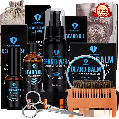 Beard Grooming Kit,Beard Kit with Beard Oil,Beard Growth Serum,Beard Wash, Beard Balm,Beard Brush, Beard Comb, Beard & Mustache Scissors Beard Growth Kit Unique Gifts for Men