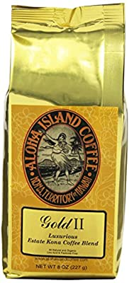 Aloha Island Coffee Company Gold II, Luxurious Estate Kona Coffee Blend, 8-Ounce Bag