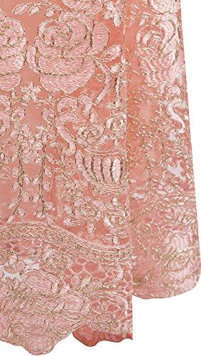 Rosa Mujer Angel Cuello Cordon Vestido Correas V fashions de Flor Sirena Bordado en R6RTF7n