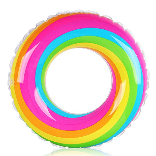 Coogam Rainbow Swim Ring Whirl Tube Color Pool Float Inflatable Rubber Inner Tubes Water Donut Rafts Foam Innertube Toy for Adults Kids Summer Outdoor Beach Playing Decoration (23.6'')