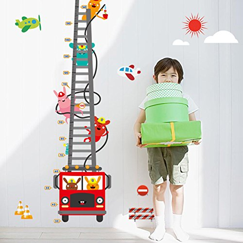 (Wallpark Cute Rabbit Fireman Cartoon Fire Truck Height Sticker, Growth Height Chart Measuring Removable Wall Decal, Children Kids Baby Home Room Nursery DIY Decorative Adhesive Art Wall Mural)
