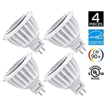 Hyperikon MR16 LED 7-watt (50-Watt Replacement), 4000K (Daylight White), CRI90+, 490lm, Flood Light Bulb, Dimmable, UL-Listed and FCC-Approved, 4-pack